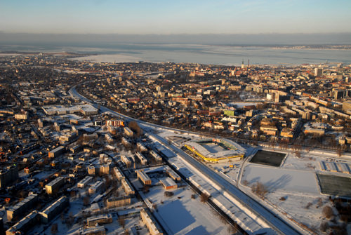 Estonia, The new face of Tallinn Just before landing at Tallinn's airport, panoramic view of the sunshine city.