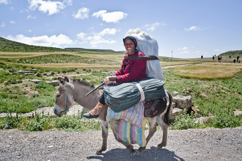 Woman traditional dressed with suitcase on a donkey