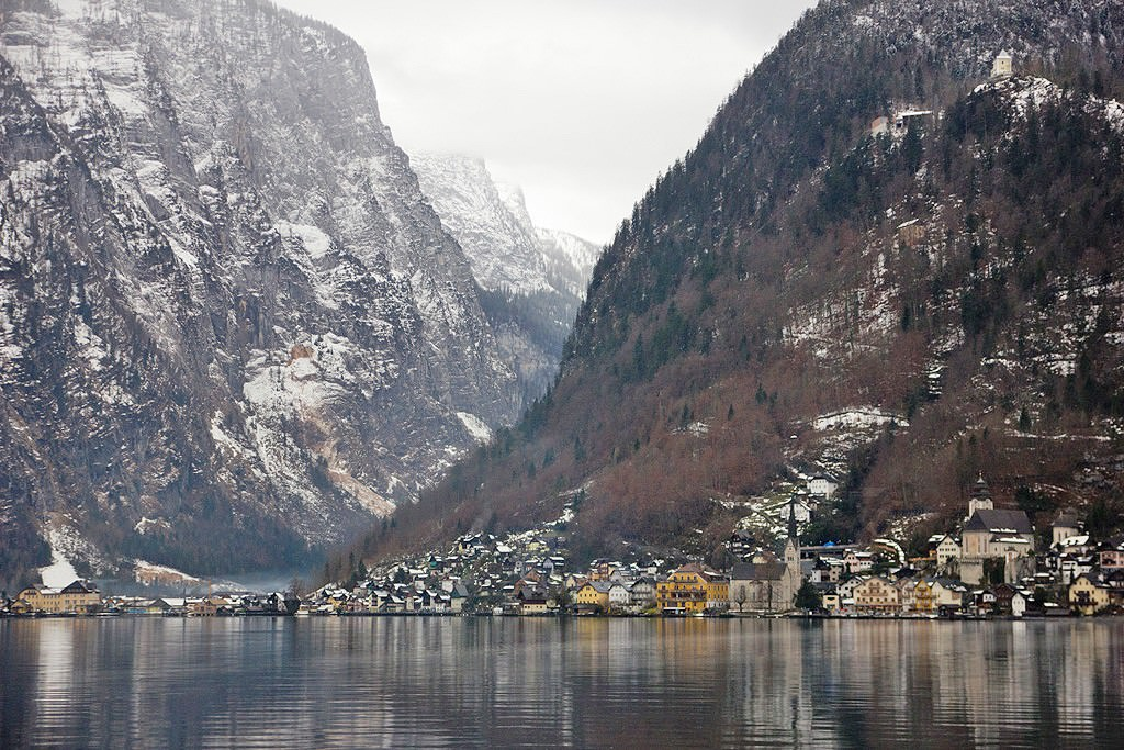 Hallstatt seen from the boat that takes you there