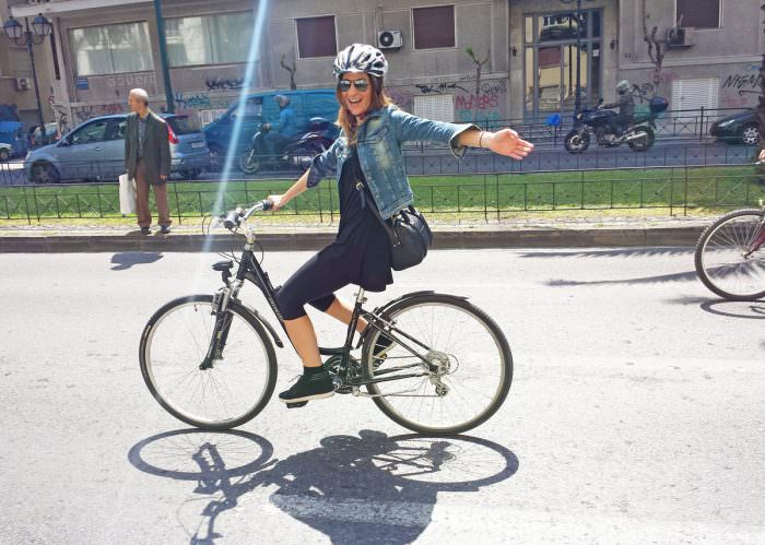 Riding my bike in Athens