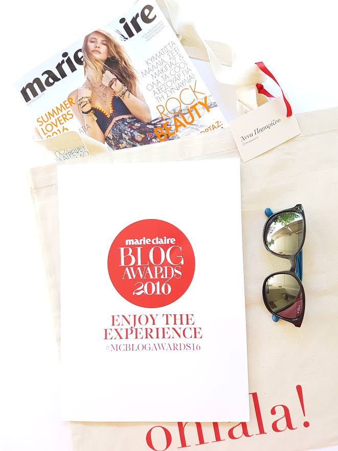 Marie Claire Blog Awards goodie bag